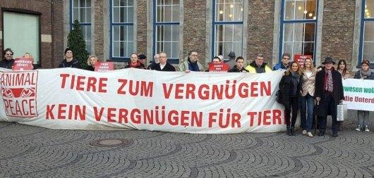 Die Tierschützer von Animal Peace postierten sich vor dem Rathaus. Foto: OH
